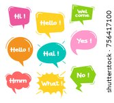 colorful balloon speech bubbles ... | Shutterstock .eps vector #756417100