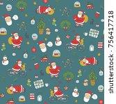 merry christmas santa cartoon... | Shutterstock . vector #756417718