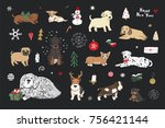 merry christmas puppy dogs... | Shutterstock .eps vector #756421144
