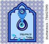 welcome to turkey greeting cart ... | Shutterstock .eps vector #756427090