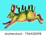 running hare rabbit vector... | Shutterstock .eps vector #756428398