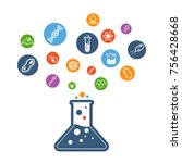 colorful science flat icon... | Shutterstock .eps vector #756428668