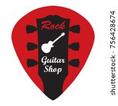guitar headstock in guitar pick ... | Shutterstock .eps vector #756428674