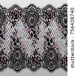 seamless vector detailed black... | Shutterstock .eps vector #756428740