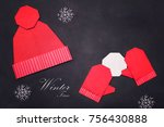 origami red mitters and cap   Shutterstock . vector #756430888