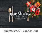 christmas table decoration.... | Shutterstock . vector #756431890