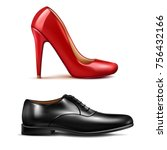 shoes realistic set witn men... | Shutterstock .eps vector #756432166
