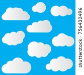 set of cloud icons in trendy... | Shutterstock .eps vector #756432496