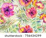 hibiscus pattern. watercolor... | Shutterstock . vector #756434299