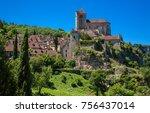 saint cirq lapopie french... | Shutterstock . vector #756437014