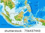 indonesia  physical map | Shutterstock .eps vector #756437443