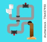 sewage system. toilet bowl and... | Shutterstock .eps vector #756437950