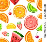 seamless fruit pattern | Shutterstock .eps vector #756438088