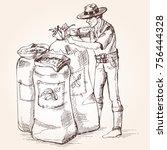 farmer carries out harvesting... | Shutterstock .eps vector #756444328