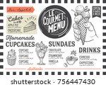 dessert menu for restaurant and ... | Shutterstock .eps vector #756447430