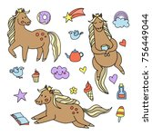 pony set cute | Shutterstock .eps vector #756449044