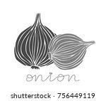 hand drawn onion on a white...