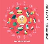 spa wellness resort treatments... | Shutterstock .eps vector #756451480