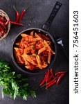 penne pasta with chili sauce... | Shutterstock . vector #756451603