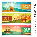 natural disasters set of... | Shutterstock .eps vector #756451954