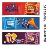 cinema set of horizontal... | Shutterstock .eps vector #756451960