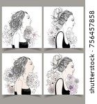 set of beautiful fashion woman... | Shutterstock .eps vector #756457858
