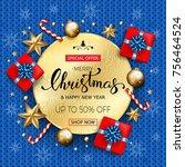 merry christmas sale banner... | Shutterstock .eps vector #756464524