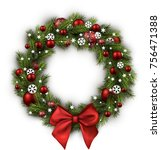 christmas wreath with red bow... | Shutterstock .eps vector #756471388