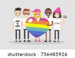 love parade. a group of people... | Shutterstock .eps vector #756485926