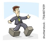 a businessman trapped in... | Shutterstock .eps vector #756487459