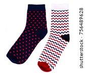 set of isolated dark blue sock... | Shutterstock . vector #756489628