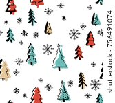 set christmas tree in line art  ... | Shutterstock .eps vector #756491074