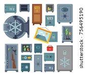 money safe vector boxes steel... | Shutterstock .eps vector #756495190