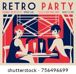 retro party invitation card.... | Shutterstock .eps vector #756496699