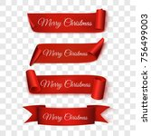 christmas sale. red ribbons.... | Shutterstock .eps vector #756499003
