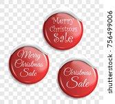 christmas sale. set red badges. ... | Shutterstock .eps vector #756499006