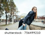 autumn getaways in paris. young ... | Shutterstock . vector #756499210