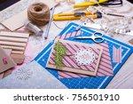 scrapbook background. christmas ... | Shutterstock . vector #756501910