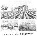 vineyards landscape  tuscany... | Shutterstock .eps vector #756517096