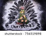 christmas tree made of broccoli ... | Shutterstock . vector #756519898