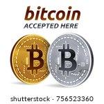 bitcoin accepted sign emblem.... | Shutterstock .eps vector #756523360