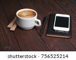 smartphone with notebook and... | Shutterstock . vector #756525214