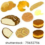 set of a various bread and... | Shutterstock .eps vector #75652756