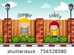 opposite words for danger and... | Shutterstock .eps vector #756528580