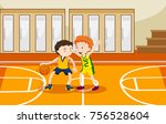 two boys playing basketball in... | Shutterstock .eps vector #756528604