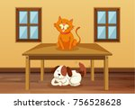 cat and dog in the room... | Shutterstock .eps vector #756528628