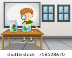 boy looking at ladybug in...   Shutterstock .eps vector #756528670