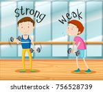 opposite words for strong and... | Shutterstock .eps vector #756528739