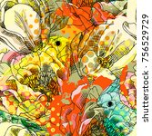 vector seamless pattern with... | Shutterstock .eps vector #756529729