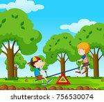 two boys playing seesaw in the... | Shutterstock .eps vector #756530074